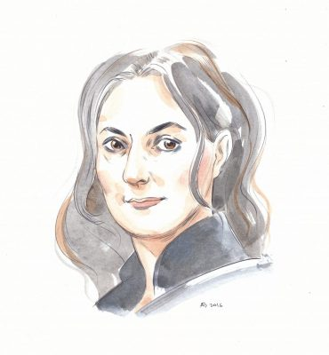 a watercolour wash drawing of the Australian author and foilmmaker Julia Leigh