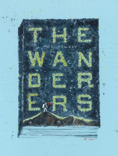 a book cover reading The Wanderers in speckled watercolour finish, tiny astronaut with an umbrella at the bottom