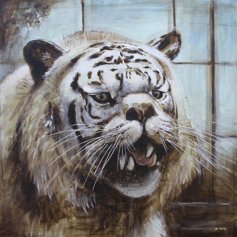 A painting of the head and shoulders of a white tiger with facial deformity.