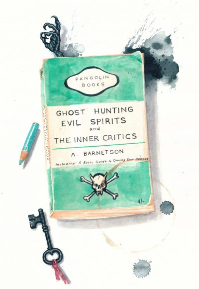 A realistic painting of a weathered paperback book titled Ghost Hunting, Evil Spirits and the Inner Critic. There is an old fashioned key, the stub of a turquoise pencil next to it and a gnarled little claw poking out of the book.