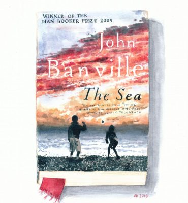 A watercolour drawing of a paperback edition of John Banville's novel The Sea