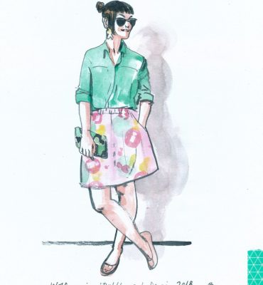 A watercolour fashion illustration showing Anne in a green shirt and pink skirt by Melbourne fashion label Devoi