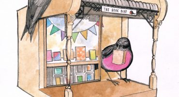 An ink and watercolour image of a bird box bookshop with a swallow and a pink robin.