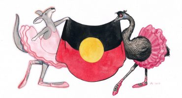 Two picture book characters hold aloft the Aboriginal flag