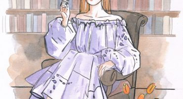 A watercolour illustration of author Bri Lee in a lilac dress, seated before a bookcase with a vase of tulips.