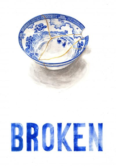 A blue and white porcelain bowl showing signs of breakage and repair, above ble text reading BROKEN
