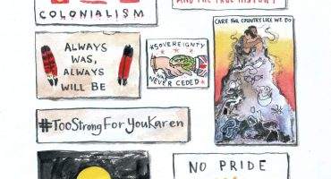 8 different protest signs representing invasion day sentiments