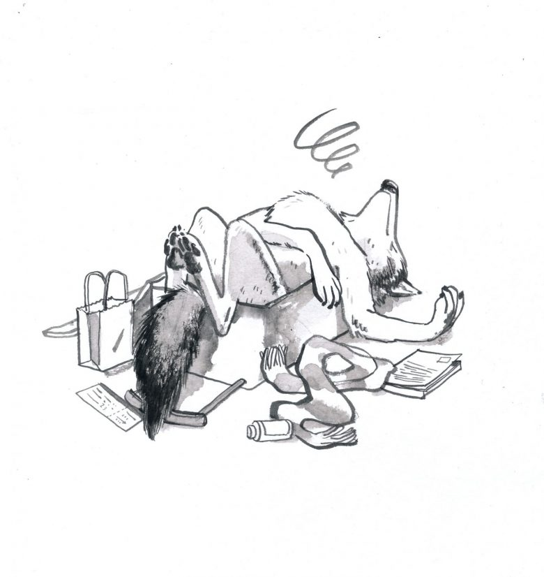 an ink sketch of a wolf lying in an open suitcase, objects scattered around